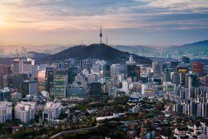 Sunrise over downtown Seoul
