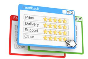 Virtual feedback forms that allow a user to rate price, delivery, support, and