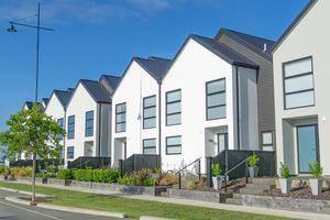 Suburban street new row houses.