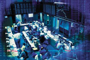 Trading floor with traders working on it.