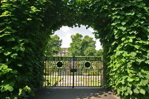 A gate to formal gardens.
