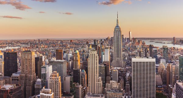 Manhattan skyline, New York skyline, Empire State Building, sunset, New York City, United States of America, North America