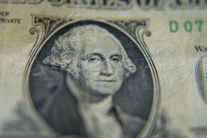 Closeup of George Washington on the American one dollar bill