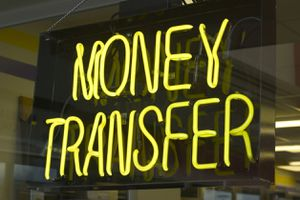 Photo of a money transfer sign.