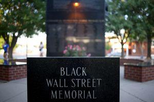 The Black Wall Street Massacre memorial is shown on June 18, 2020, in Tulsa, Okla.