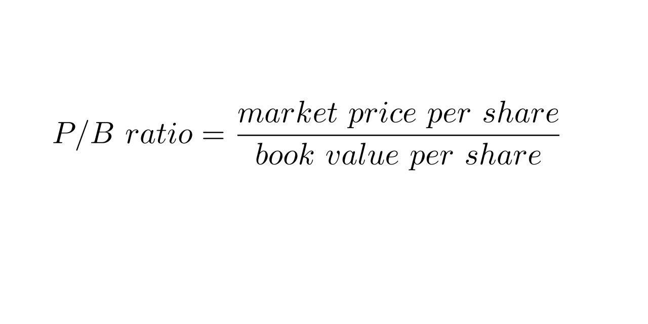 P/B ratio = market price per share / book value per share