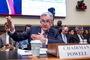 Federal Reserve Chairman Jerome Powell talking and using his hands.