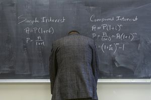 Caucasian teacher frustrated at chalkboard