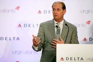 Richard Anderson, then CEO of Delta Airlines, speaks at a news conference in 2012