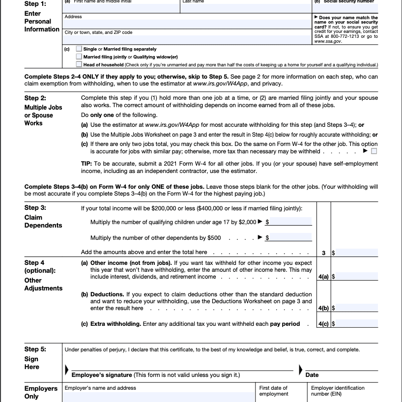 IRS Form W-4 Page 1