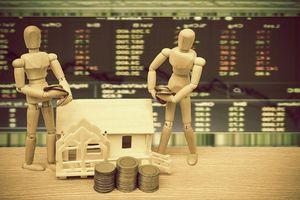 Wooden figures, house, money