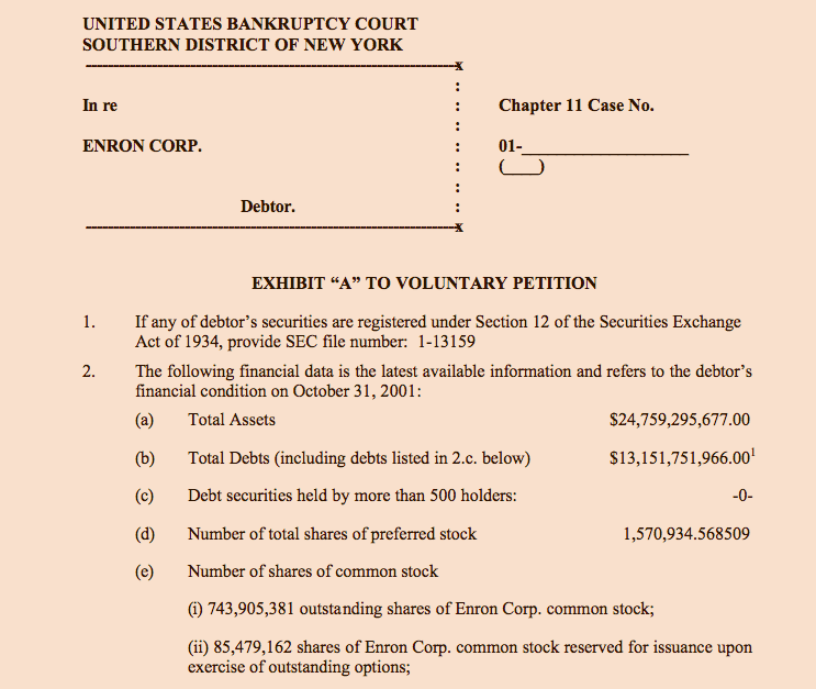 Enron Corp. Chapter 11 Bankruptcy Filing -- Ex. A