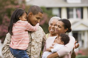 Military father with family