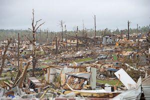 Wrecked landscape after a natural disaster