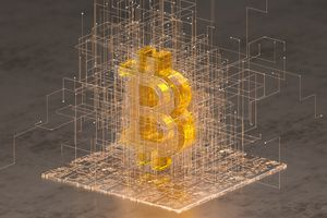 A close up of transparent bitcoin sign standing on golden digital surface surrounding by wire network.