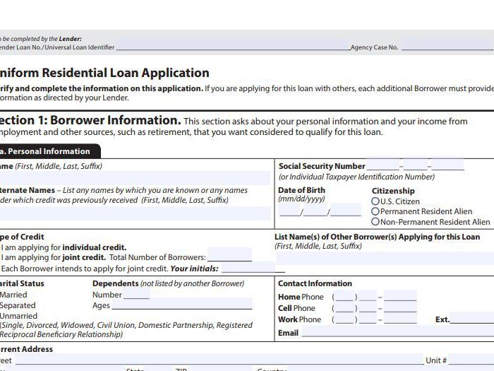 The 1003 Mortgage Application Form Definition