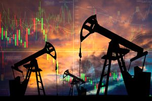 Oil pumps with candle stick graph chart in the background