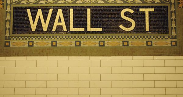 New York subway wall with the Wall St stop mosaic