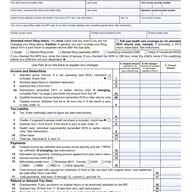 2020 Form 1040-X