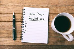 """New Year Resolutions"" list begun on notepad"