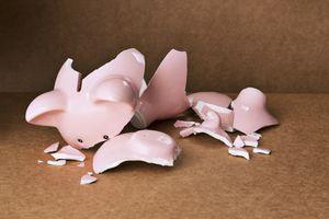 A shattered piggy bank