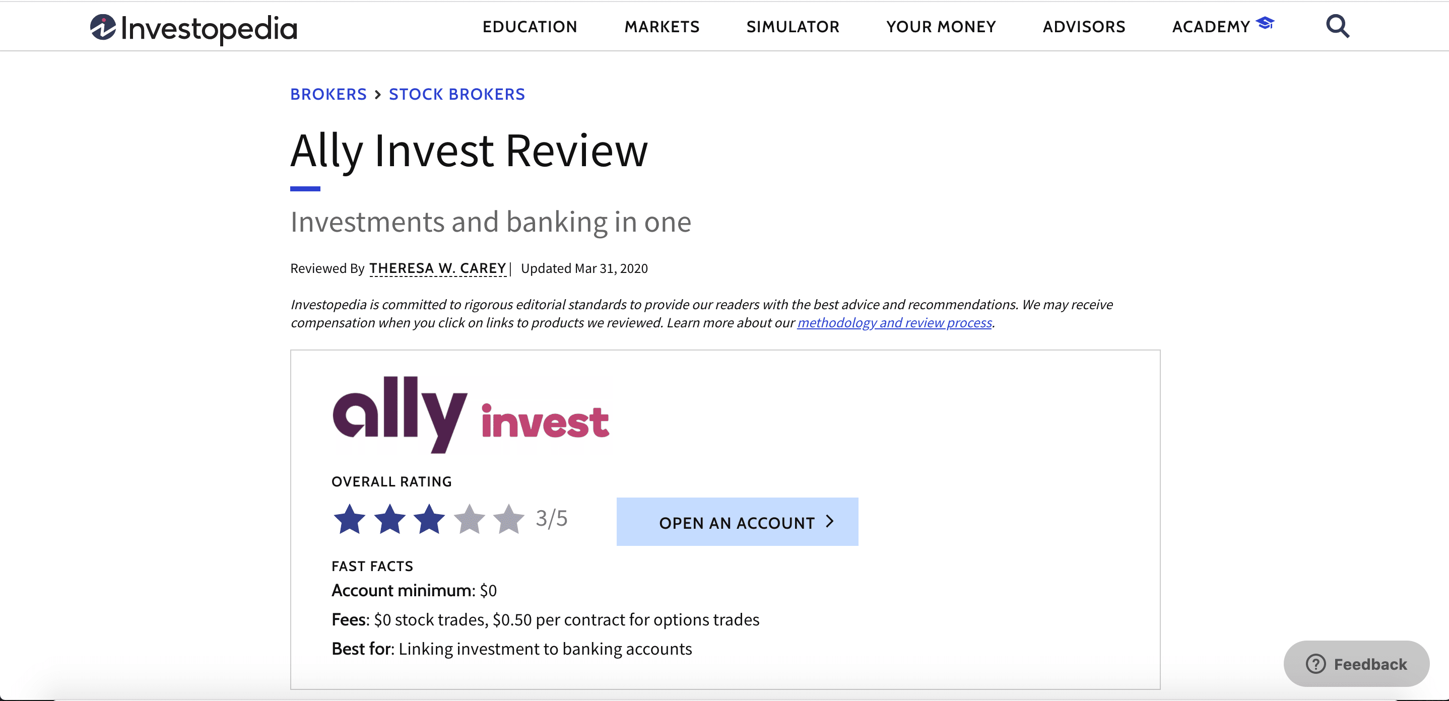 Example of a broker review