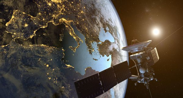 A communication satellite broadcasts television from space.