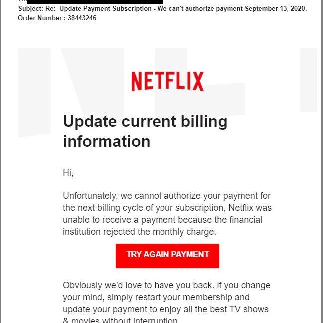 Netflix Phishing Scam Email