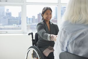 A businesswoman with disability.