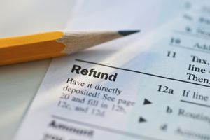 Tax refund on tax form, with pencil
