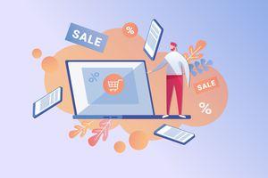 Salesman Offering Laptop in Sale at Deep Discount