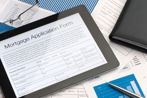 A tablet with an online mortgage application form
