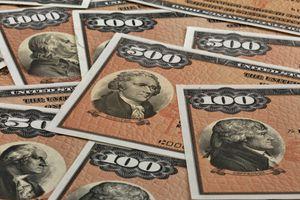 close up of various U.S. bills