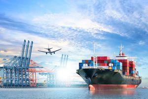 Logistics and Transportation of International Container Cargo Ship and Cargo Plane
