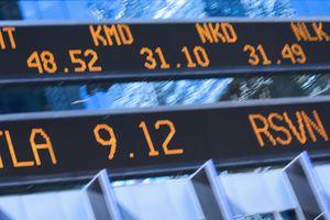 Stock price quotes on stock ticker