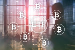 An office overlayed with ETF connected to bitcoin symbols