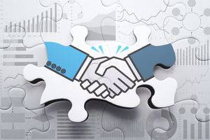 Agreement, consensus building and strategic partnership concept.