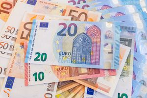 Euro banknotes in various denominations
