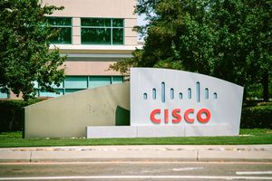 A sign with logo at the Silicon Valley headquarters of networking company Cisco.