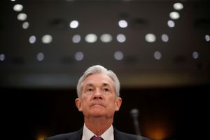U.S. Federal Reserve Board Chairman Jerome Powell waits to testify at a Senate Banking and Housing and Urban Affairs Committee hearing on