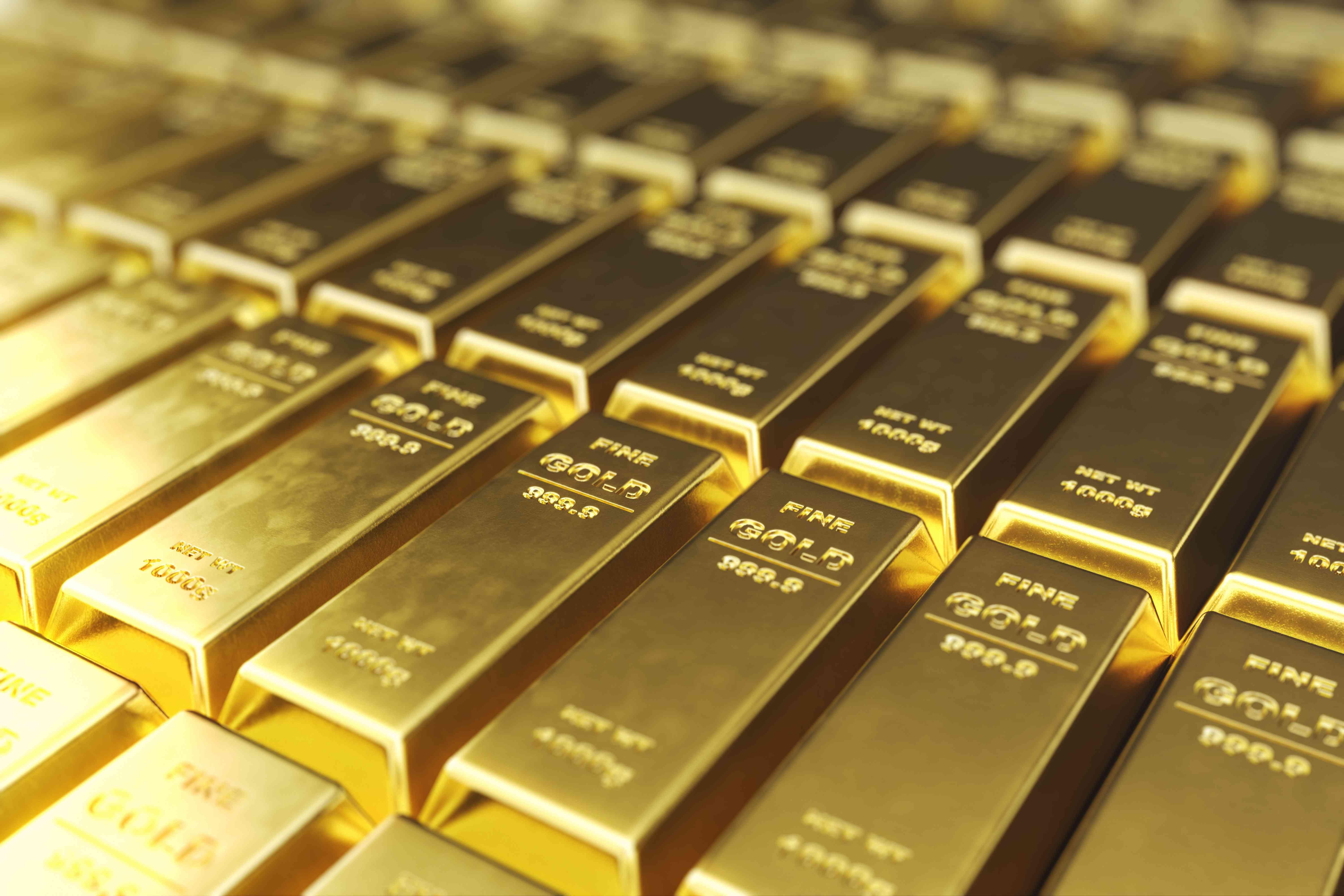 Stack close-up Gold Bars, weight of Gold Bars 1000 grams Concept of wealth and reserve. Concept of success in business and