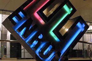 Enron logo in front of the Houston-based energy trading.
