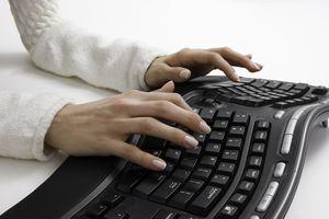 Typing on an ergonomic keyboard