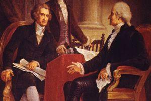Historical painting depicting George Washington, Thomas Jefferson, and Alexander Hamilton