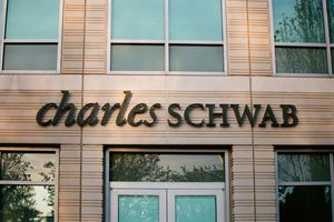 sign with logo at Charles Schwab.