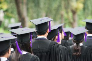 Back of Graduates During Commencement at University Graduate WA