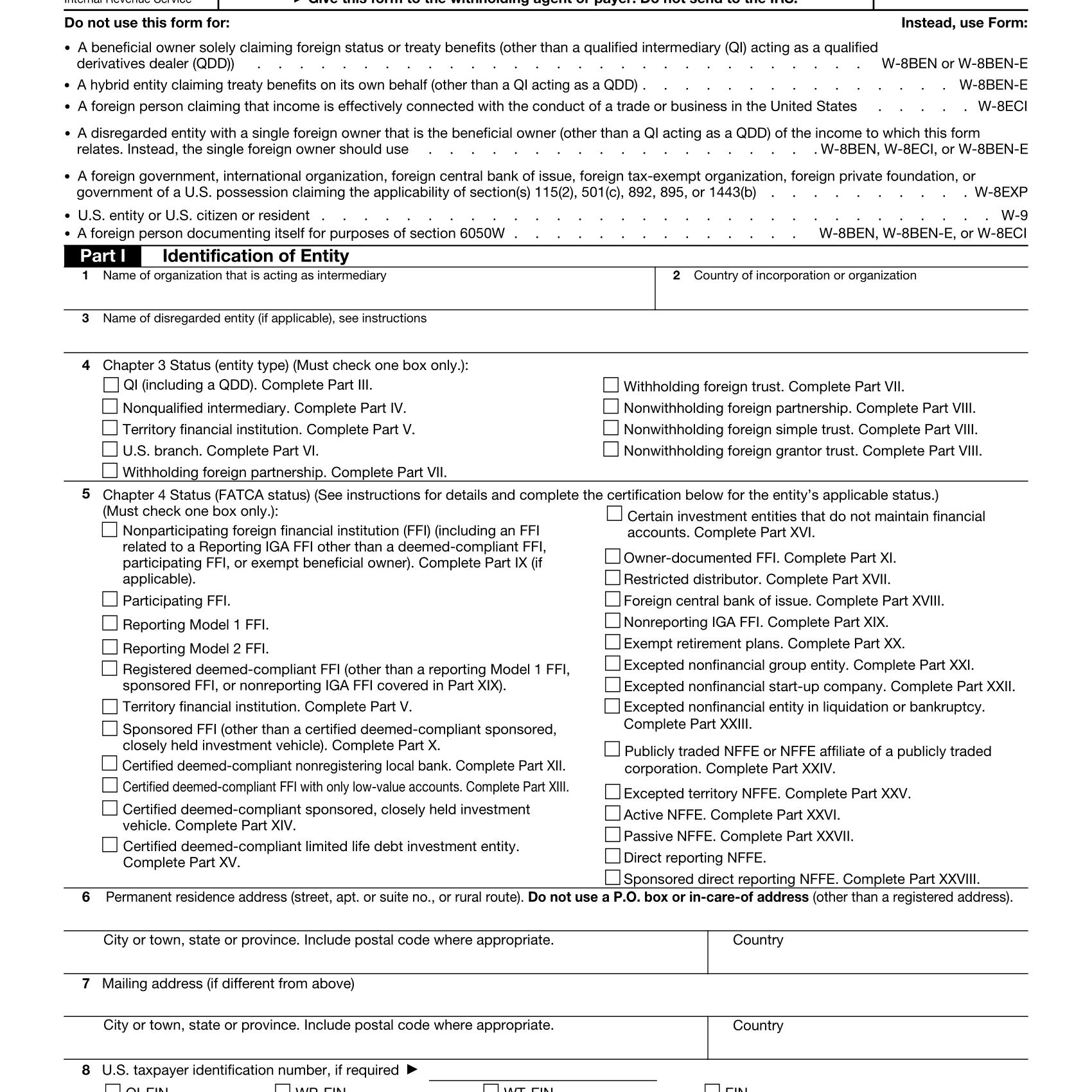 Form W-8IMY