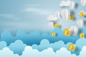 Paper art of balloon with bitcoin money on business and management concept and idea,blue sky,cloud,vector