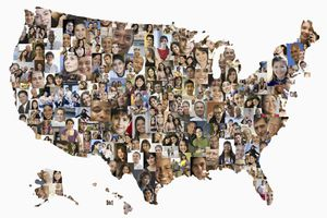 Collage of a population of people in the shape of a U.S. map
