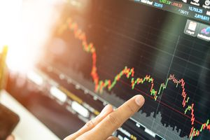 Stock market graph chart.